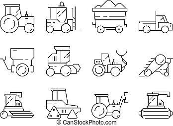 pesado, transport., escavadora, linear, harvester, fazenda, isolado, símbolos, vetorial, máquinas, agrícola, trator