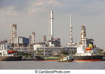 pesado, uso, aceite, e, industria, refinería, barco, ...