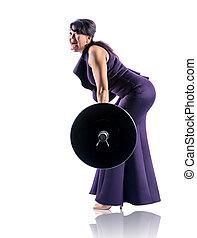pesado, vestido, noite, financeiro, negócio, levanta, foto, concept., cima, isolado, mulher, branca, força, barbell.