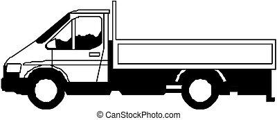 pesado, vetorial, caminhão