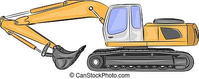 pesado, vetorial, escavador