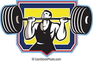 pesado, weightlifter, retro, levantamento, barbell