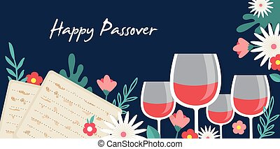 Pesah celebration concept , jewish Passover holiday. Greeting cards with traditional four wine glasses, Matza and spring flowers. Happy passover in Hebrew. vector illustration