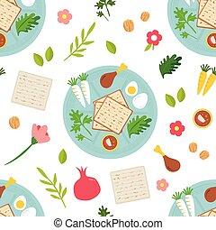 Pesah celebration concept , jewish Passover holiday seamless...