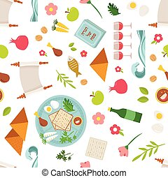 Pesah celebration concept , jewish Passover holiday seamless...