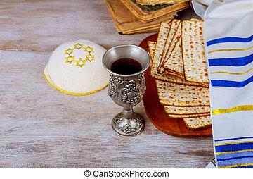 Pesah jewish Passover holiday with wine and matza wine....
