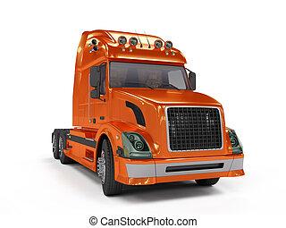 pesante, bianco, camion, isolato, rosso