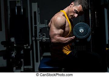 pesante, bicipite, peso, giovane, esercizio, uomo