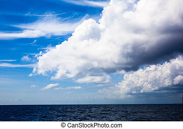 pesante, blu, grande, sea., sopra, nuvola