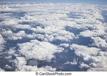 pesante, blu, nubi, cielo, grigio, sole., aeroplano, /, bianco, vista
