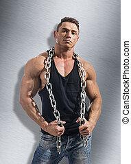 pesante, catena, grande, shirtless, metallo, muscolare, uomo