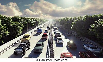 pesante, città, mosche, automobili, sopra, afternoon., interpretazione, macchina fotografica, attraverso, andare, traffic., 3d