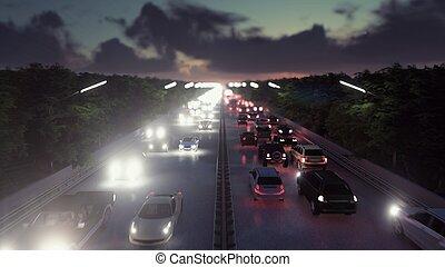 pesante, città, mosche, interpretazione, automobili, sopra, luci, macchina fotografica, attraverso, andare, traffic., night., 3d