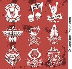 pesante, classico, mano, adesivo, duro, etichetta, vendemmia, creativo, nota, musica, sagoma, hipster, distintivo, cranio, emblema, simbolo, suono, illustration., cranio, punk, registrazione, vettore, roccia, rock-n-roll