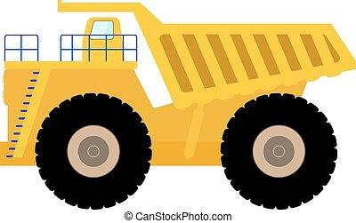 pesante, discarica, grande, illustrazione, vettore, camion, cartone animato