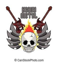 pesante, elettrico, cranio, metallo, chitarre, bandiera