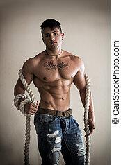 pesante, grande, shirtless, muscolare, corda, uomo