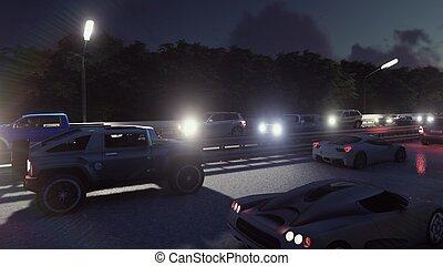 pesante, luci urbane, automobili, interpretazione, attraverso, notte, andare, traffic., night., 3d