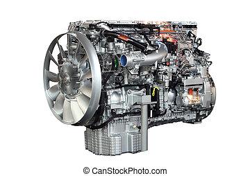 pesante, motore, isolato, camion, fondo, bianco