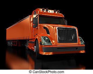 pesante, nero, camion, isolato, rosso