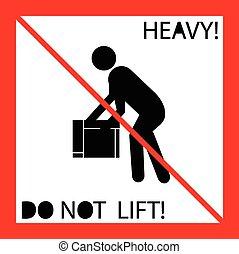 pesante, non, simbolo, ascensore, peso