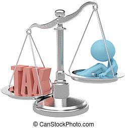 pesante, payer, tassa, tasse, danneggiare, persona