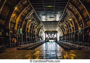 pesante, peso, aeroplano carico