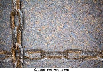 pesante, piastra, catena metallo