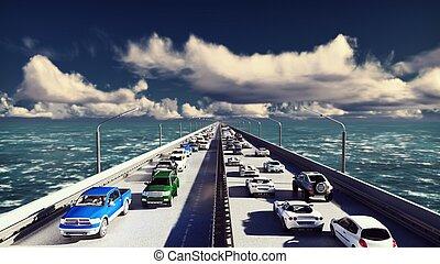 pesante, ponte, mosche, automobili, sopra, afternoon., interpretazione, macchina fotografica, andare, traffic., 3d