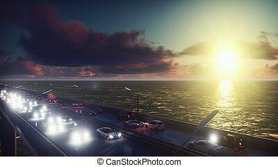 pesante, ponte, mosche, interpretazione, automobili, sopra, sunrise., luci, macchina fotografica, andare, traffic., 3d