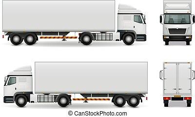 pesante, realistico, camion, pubblicità, mockup