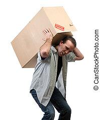 pesante, scatola, sollevamento, uomo