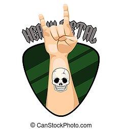pesante, simbolo, metallo, mano, chitarre, cogliere, bandiera