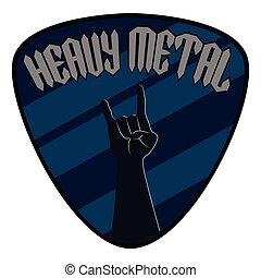 pesante, stile, testo, metallo, simbolo., mano, chitarra, musica, cogliere