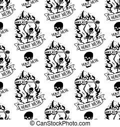 pesante, suono, emblema, cranio, vendemmia, adesivo, duro, punk, seamless, illustrazione, etichetta, vettore, musica, fondo, roccia, modello, distintivo
