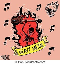 pesante, suono, emblema, cranio, vendemmia, simbolo, duro, punk, illustrazione, etichetta, vettore, musica, fondo, roccia, distintivo, adesivo