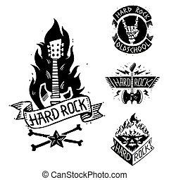 pesante, suono, emblema, cranio, vendemmia, simbolo, duro, punk, illustrazione, etichetta, vettore, musica, roccia, distintivo, rock-n-roll, adesivo