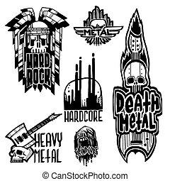 pesante, suono, etichette, emblema, cranio, vendemmia, adesivo, duro, punk, illustrazione, simboli, vettore, musica, roccia, stampa, distintivo