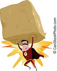 pesante, superhero, grande, roccia rossa, innalzamento
