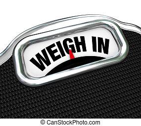 pesar, em, palavras, ligado, escala, perda peso, dieta