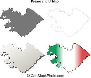 Pesaro and Urbino blank detailed outline map set - Pesaro...
