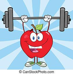 pesas, manzana, elevación, feliz