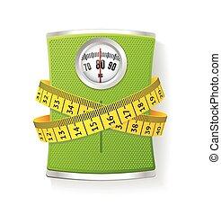 pesas, medida, cinta, vector