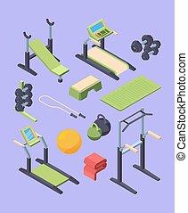 pesas, monitor, travesaño, manijas, barra, set., isométrico...