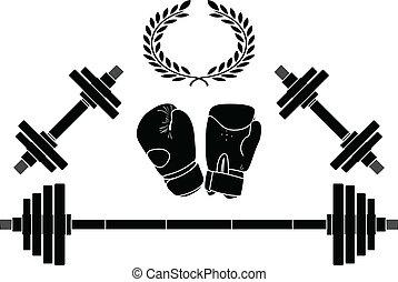 pesas, y, boxeador, guantes