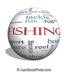 pesca, 3d, esfera, palabra, nube, concepto
