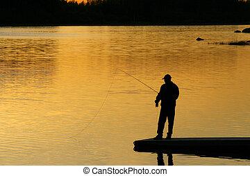 pesca, a, tramonto