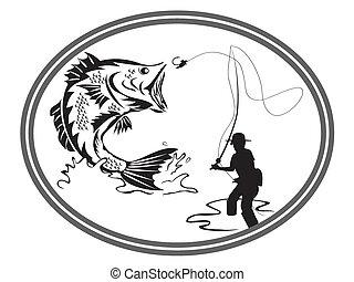 pesca, bajo, emblema
