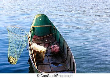 pesca, bote, lago
