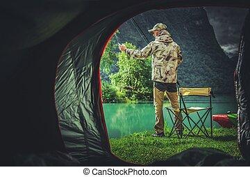 pesca, campamento, fin de semana